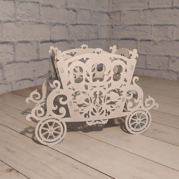 Декоративное кашпо Карета белая