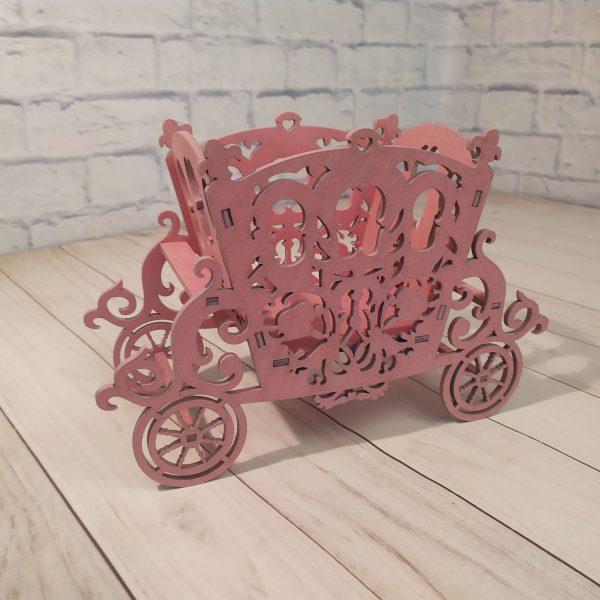 Декоративное кашпо Карета розовая