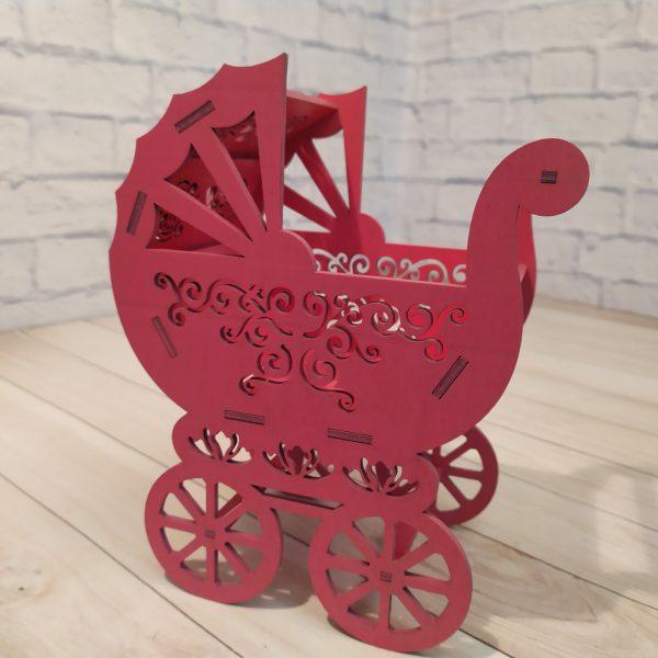 Декоративное кашпо Коляска розовая