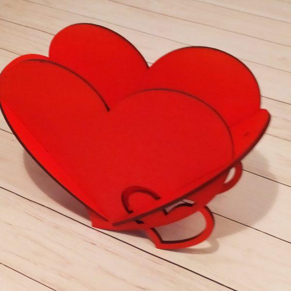 Декоративное кашпо Сердце красное