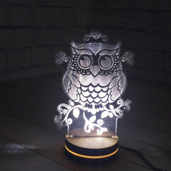 3Д светильник Милая совушка