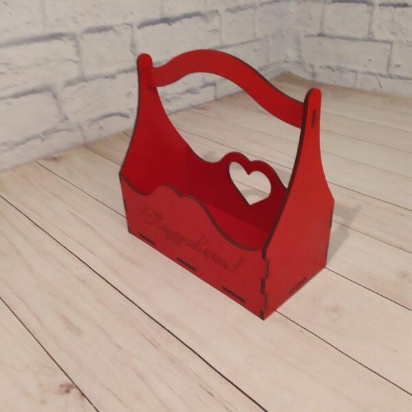Декоративное кашпо с гравировкой красное