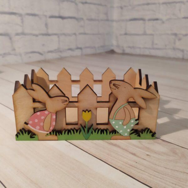Декоративное кашпо Забор с зайками