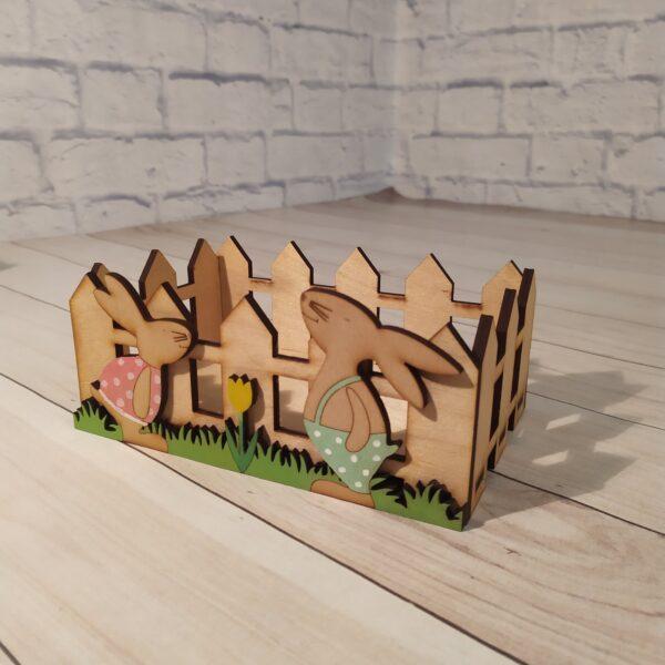 Декоративное кашпо Забор с зайками1