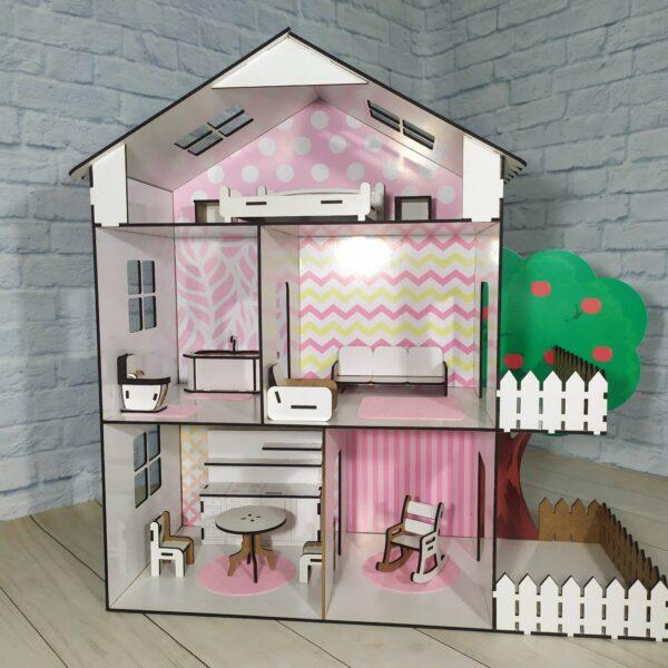 Кукольный домик Коттедж розовый